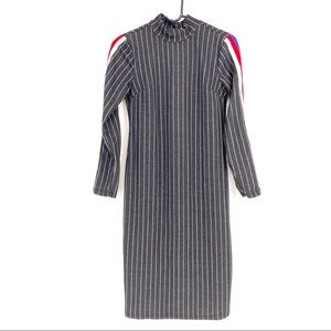 No Comment Stripe Long Sleeves  Bodycon Dress - S
